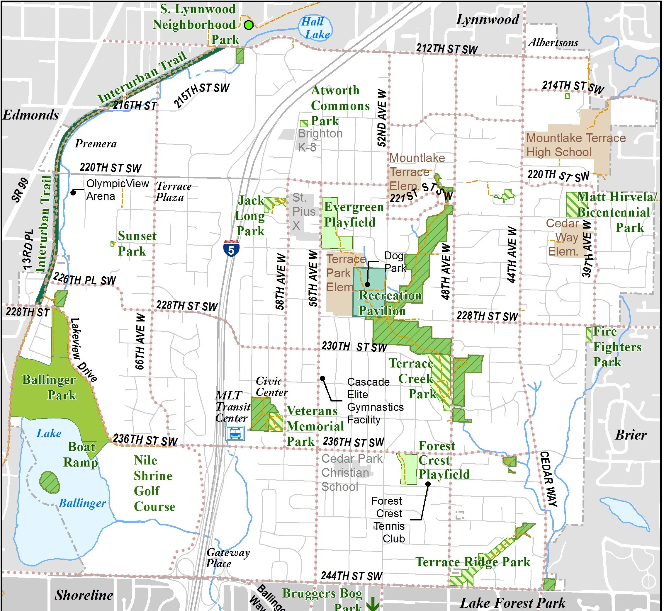 Map of Mountlake Terrace with parks delineated in green