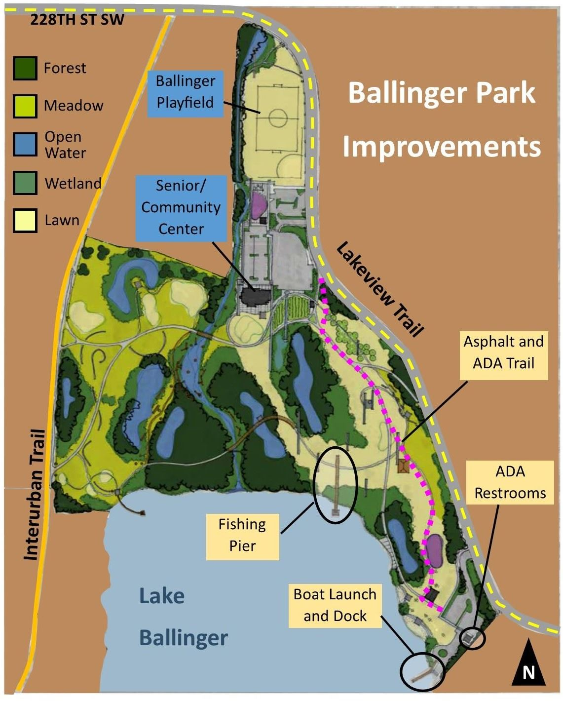 Map of Future Ballinger Park with Proposed Improvements