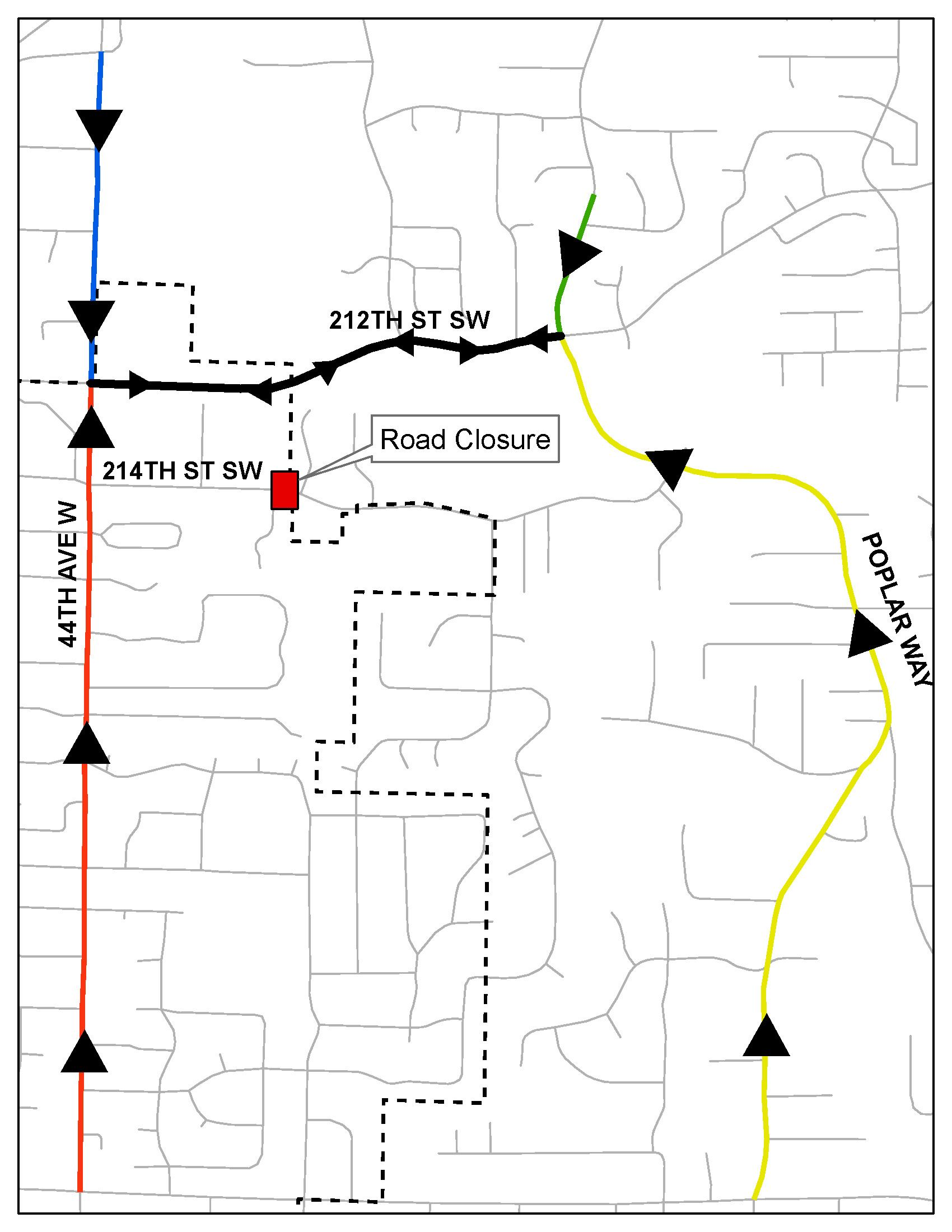 Detour Map for 214th Street SW Road Closure